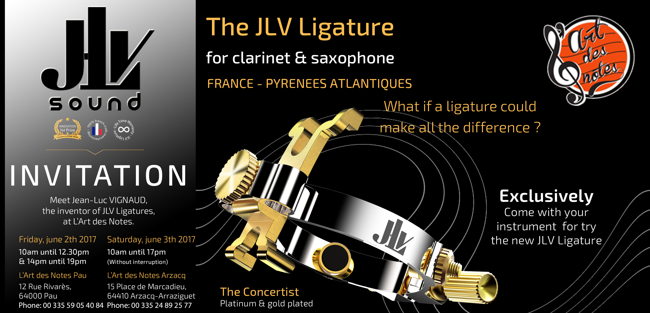 Event in Pau and Arzacq on 2 and 3 June 2017 with the inventor of the JLV Ligatures