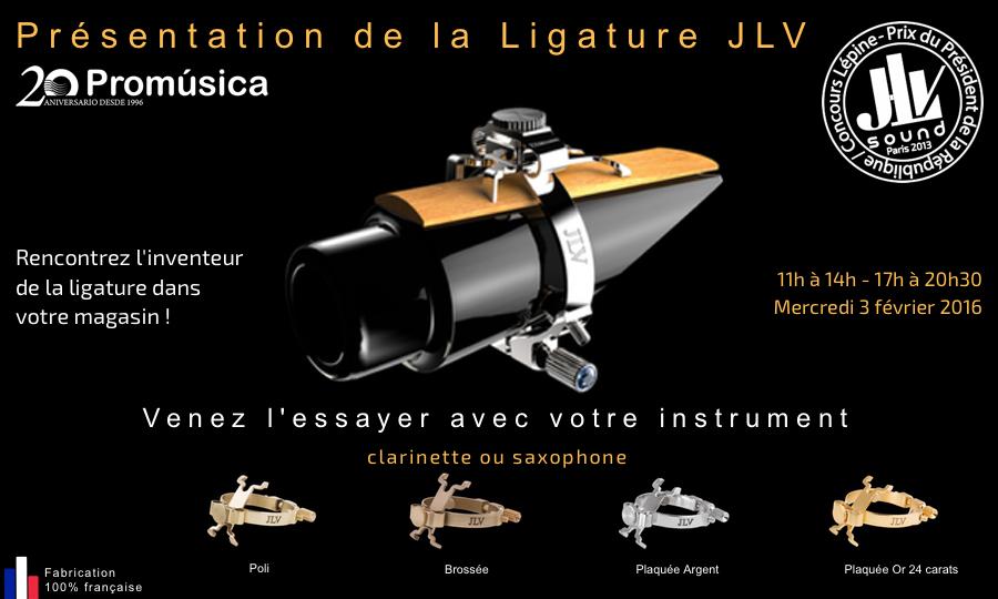 Présentation de la Ligature JLV pour clarinette et saxophone chez Promusica à Séville en Espagne