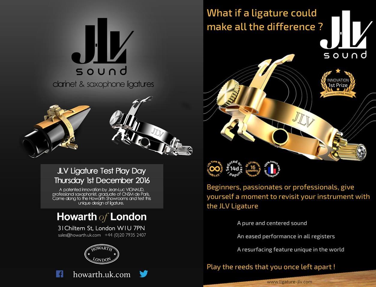 Le 1er décembre 2016 de 10h à 17h30, retrouvez l'inventeur des Ligatures JLV chez Howarth of London