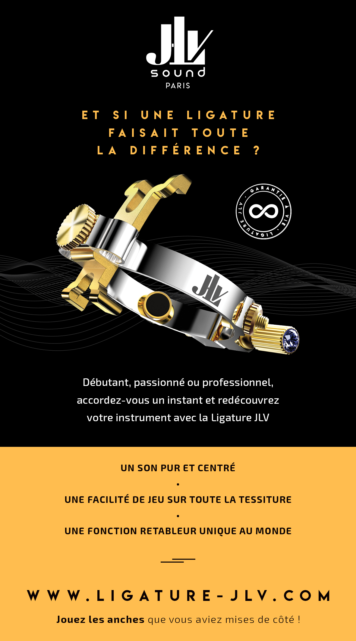 Flyer Ligature JLV pour saxophone & clarinette recto