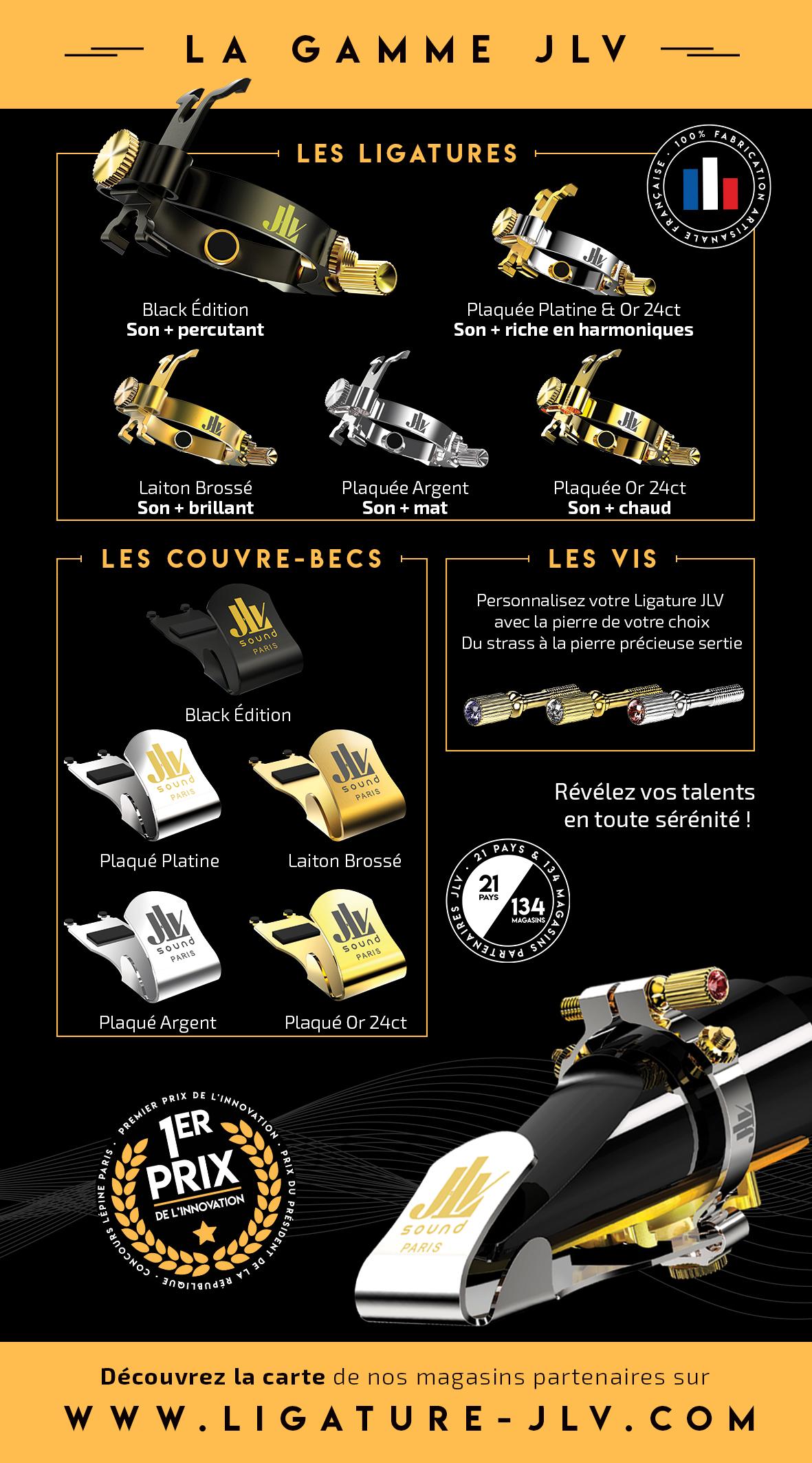 Flyer Ligature JLV pour clarinette & saxophone verso