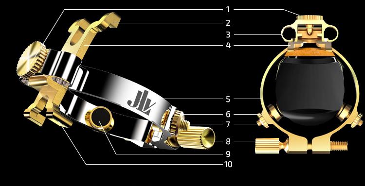 Photo Ligature JLV pour clarinette et saxophone sous deux angles