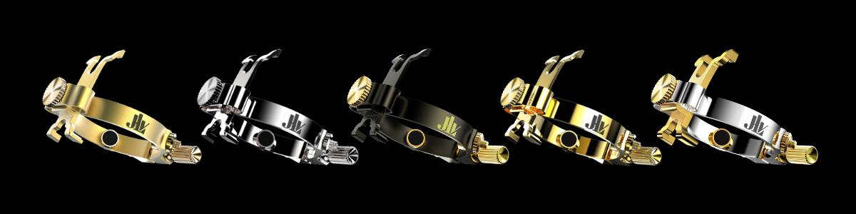 Gamme des Ligatures JLV pour clarinettes et saxophones