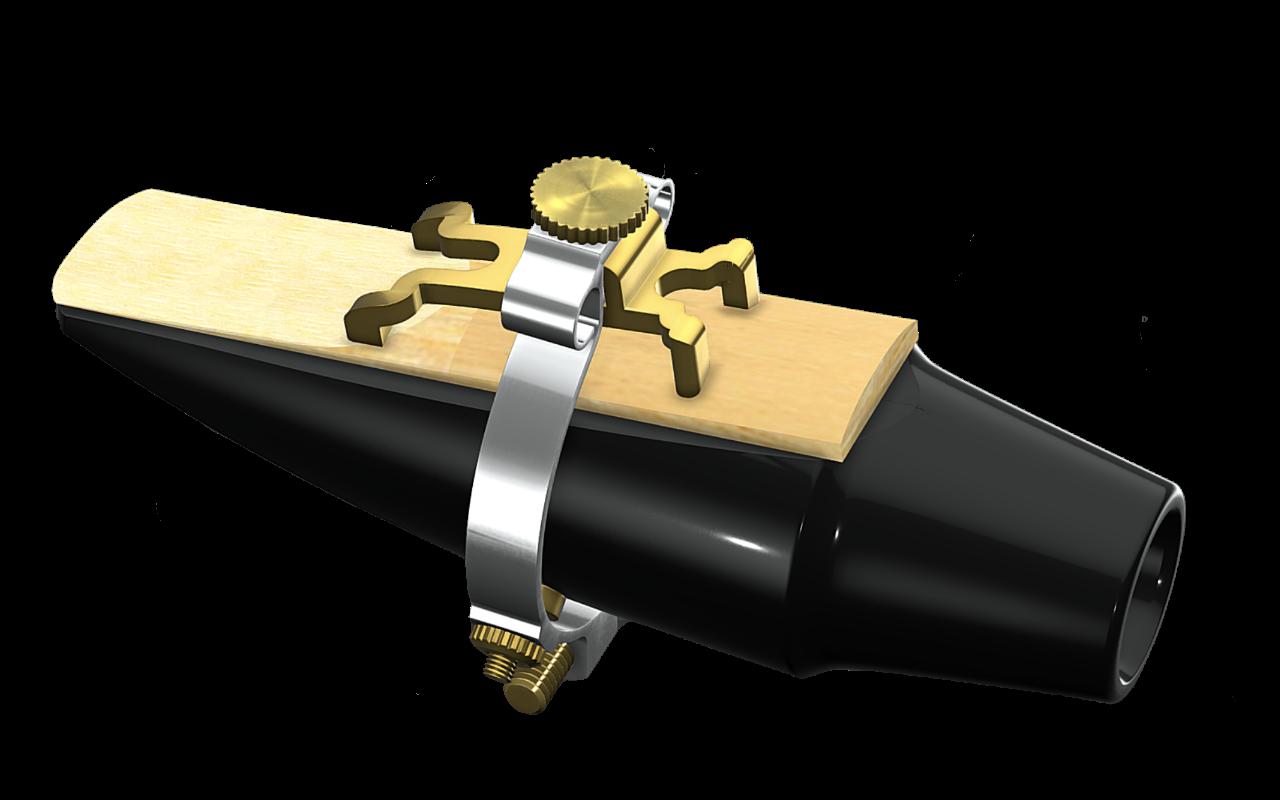 Ligature JLV plaquée platine et or sur bec de saxophone avec anche et strass