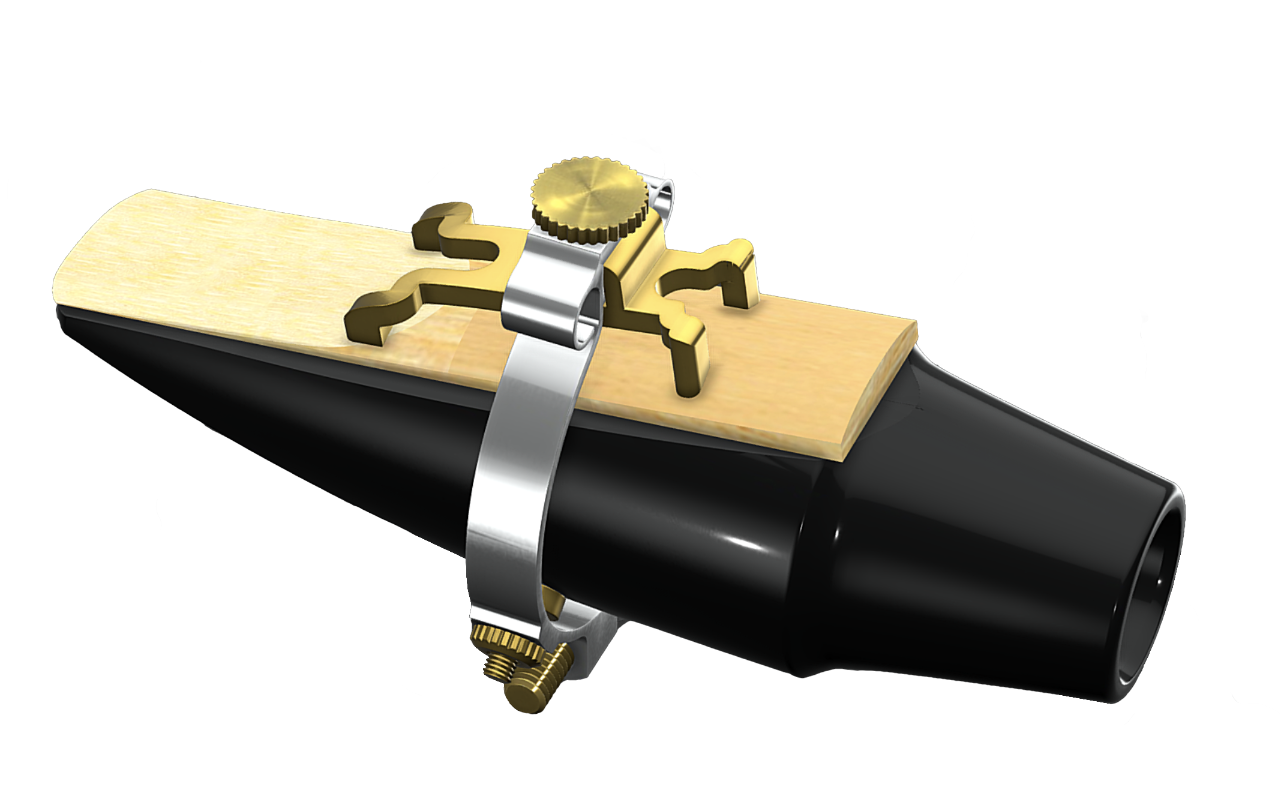 Platinum and gold plated JLV ligature on saxophone mouthpiece with reed and rhinestones