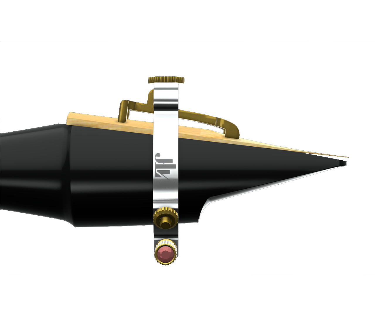 JLV ligature front view with saxophone mouthpiece and reed