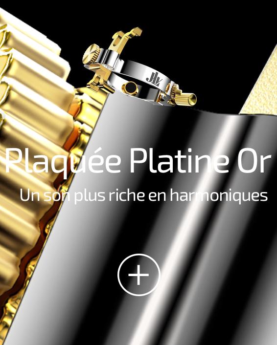 Ligature JLV plaquée platine & or pour clarinettes et saxophones