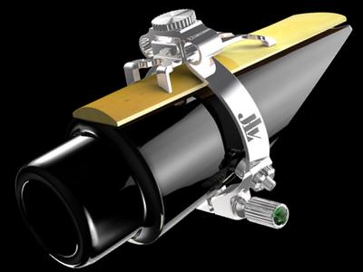 Ligature JLV argent sur bec saxophone