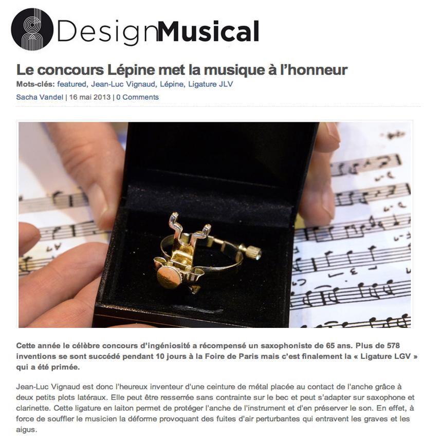 Article de presse DesignMusical à propos de la Ligature JLV pour sax et clarinette