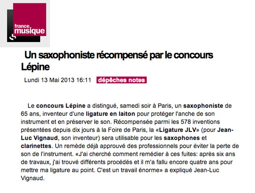 Article de presse France Musique Au sujet de la Ligature JLV - JLV Sound pour sax et clarinette