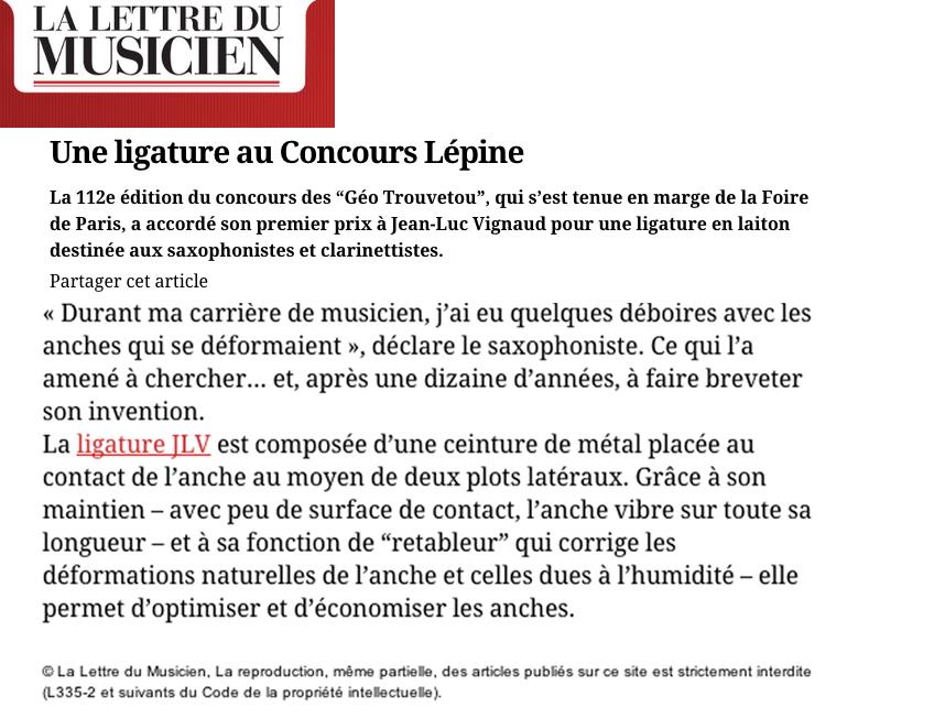 Article de presse La Lettre du Musicien Une Ligature au Concours Lépine - JLV Sound
